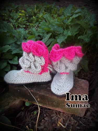 botitas, botas para los chiquis. pantuflas crochet. t 19/24