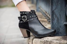 Botitas Botinetas Botas Zapatos Taco Bajo Mujer Tipo Texanas
