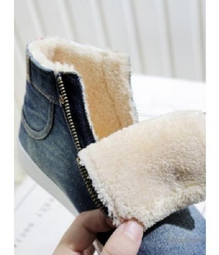 botitas de jean con corderito importadas