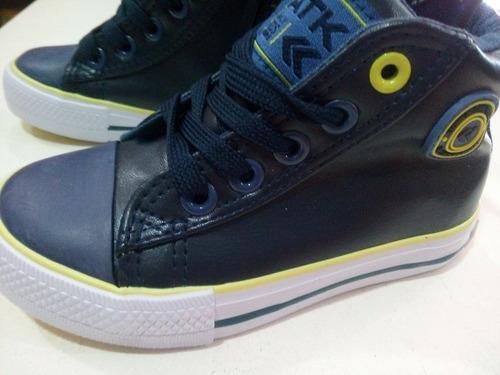 botitas zapatillas atomik varón 19/23 similcuero azul o verd