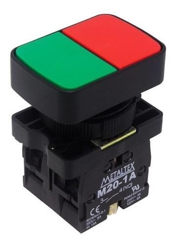 botão duplo pulsador 22mm 1na+1nf p20apl-1c com capa proteto