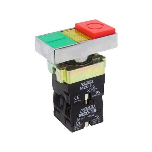 botão duplo pulsador iluminado 22mm 1na+1nf m20itl-y7-1c met