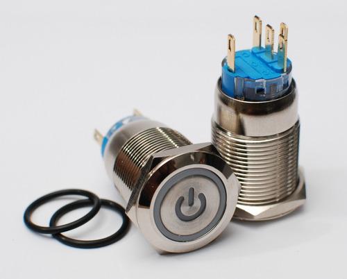 botão interruptor chave inox 19mm on/off led com trava 12v