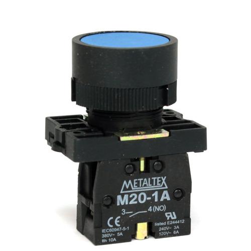 botão pulsador plastico p20afr-bl-1a azul 1na - metaltex