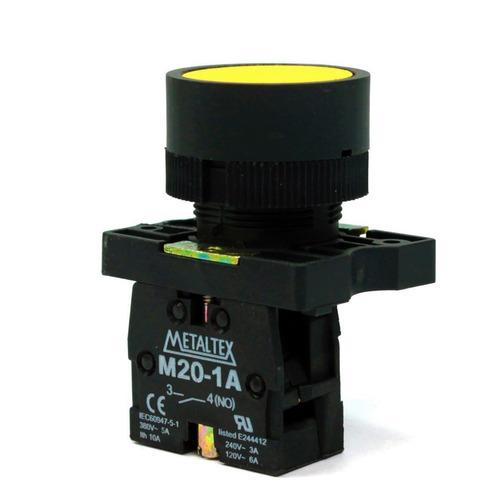 botão pulsador plastico p20bfr-y-1a amarelo 1na - metaltex