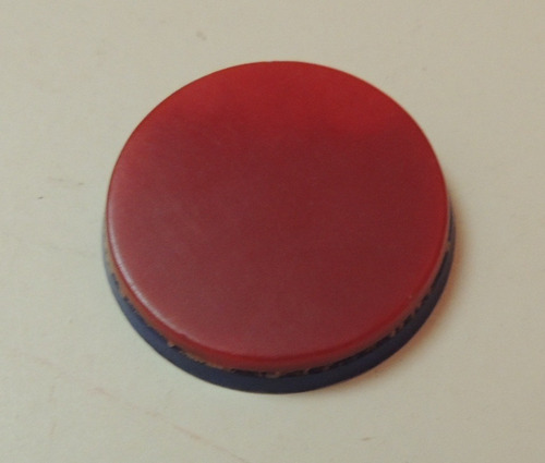 botão puxador duas camadas década 80 vermelho