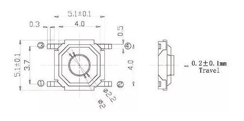 botão tact 4 pino interruptor micro switch smd vw (20pç)
