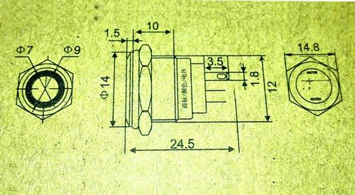 boton de acero inoxidable led sin retencion - 12mm rojo