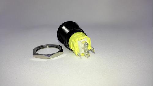 boton de aluminio logo power con retención- led verde 19mm