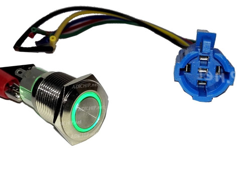 boton de metal led momentáneo verde 16mm + cable conector