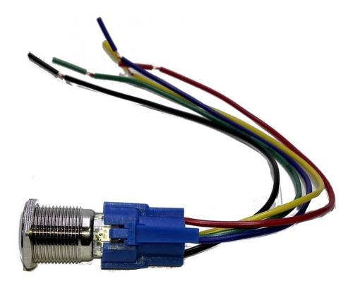 boton led con logo y retención azul 16mm + cable conector