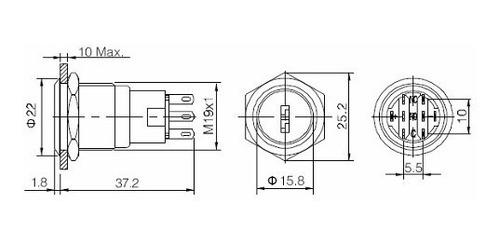 boton pulsador bloqueo 19mm 3a 250vac acero inox. con llave
