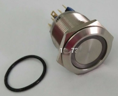 boton pulsador bloqueo 22mm acero inox 6v a 220v led blanco