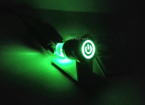 boton pulsador de metal led c/ logo y retención - 16mm verde