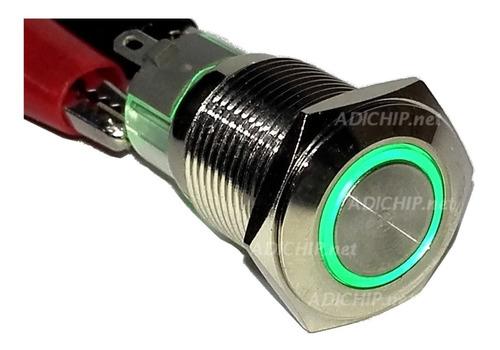boton pulsador de metal led con retención - 16mm verde