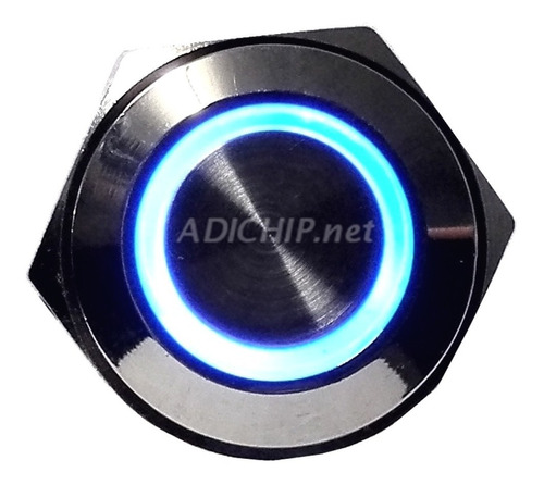 boton pulsador de metal led momentáneo - 16mm azul