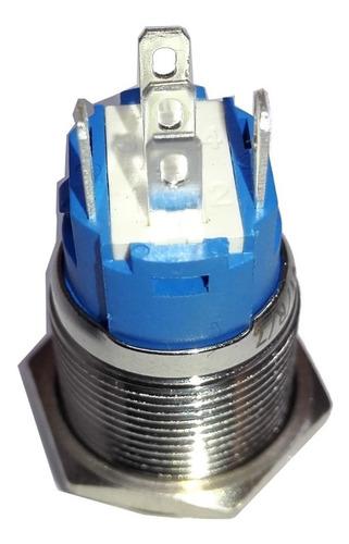 boton pulsador de metal led sin retención - 16mm azul