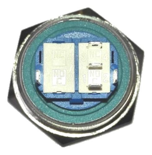 boton pulsador de metal led sin retencion - 30mm azul