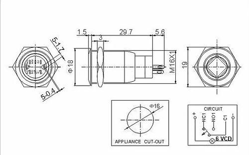 boton pulsador de metal momentáneo led c/ logo - 16mm blanco
