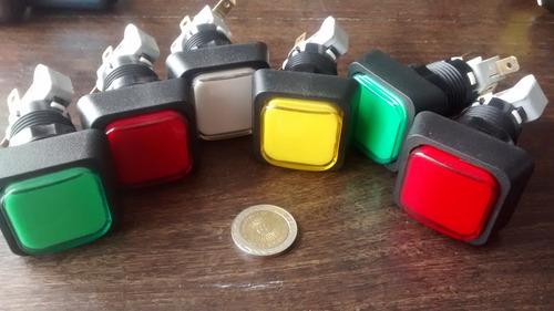 boton pulsador n14 cuadrado arcade luminoso, facearcade