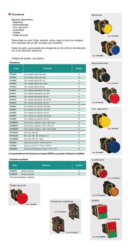 boton pulsador rasante c/ monoblock tablero botonera interruptor na nc thomelec