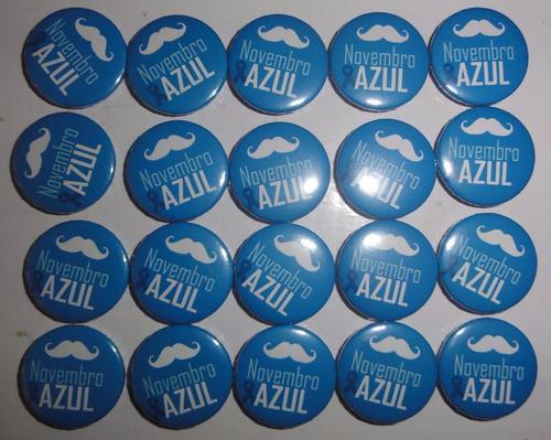 botons novembro azul - 20 unidades 2,5 cm - combate ao cance