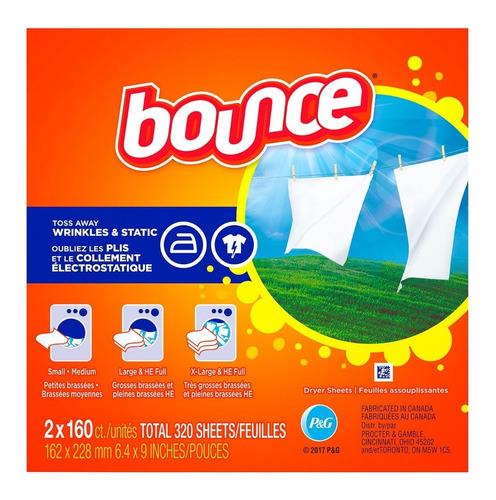 bounce hojas suavizantes de ropa para secadora(2 cjs 160uni)