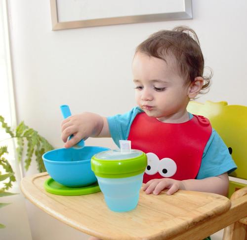 bowl bebé plato silicona y cuchara apto micro horno freezer