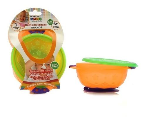 bowl con sopapa, asas y tapa grande  baby innovation