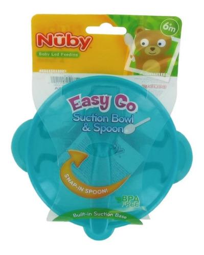 bowl con tapa, cuchara y ventosa nuby punto bebe