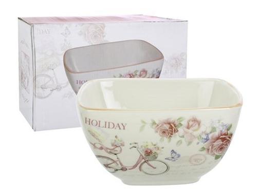 bowl de ceramica cuadrado linea holiday color rosa 810ml
