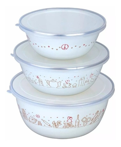 bowl set hudson valley x3  acero enlozado