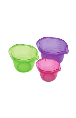 bowl trio 2 lts 11.5*19*22 traslucido verde y azul ue*50 ple