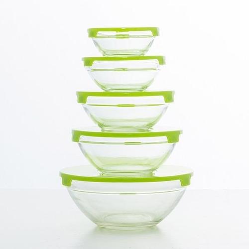 bowls vidrio tapa plastica carol set 5 apilables microondas