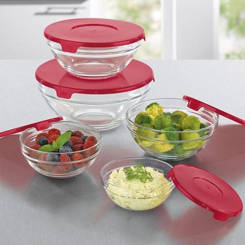 bowls vidrio tapa plastica carol set x 5 apilable microondas