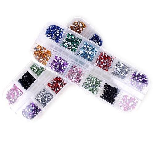 box 3500 pedras meia perola 12cores 3d nail art strass unhas