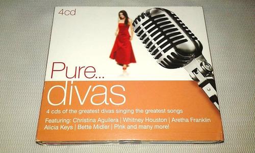 box 4 cds pure divas grandes cantoras pop - sony 2010 hits