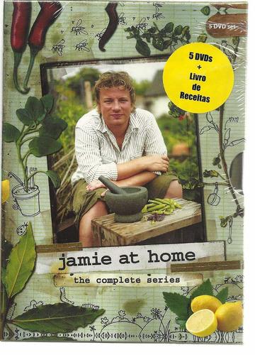 box 5 dvds jamie oliver - jamie at home  - novo - lacrado