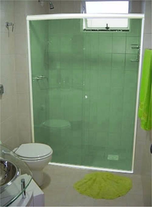 Box Banheiro Vidro Temperado Verde Instalado Frete Grátis!  R$ 88,83 em Mer -> Porta Para Banheiro Pequeno Mercado Livre