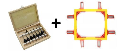box brocas escariadoras marcenaria +kit 4 grampo 90 graus