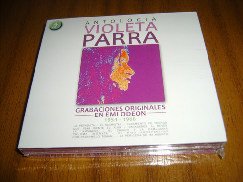 box cd violeta parra / antologia (nuevo y sellado) 4 cds