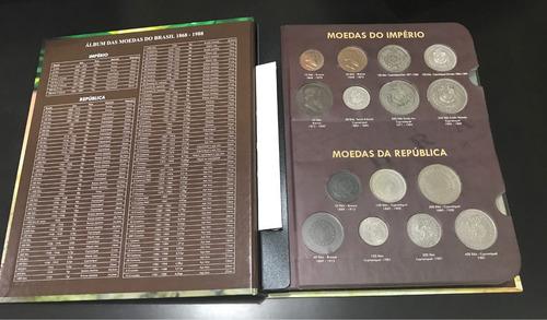 box com 2 álbuns luxo para as moedas brasileiras! top moedas