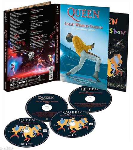 box com 2 cds + 2 dvds queen live at wembley '86 raro (novo)