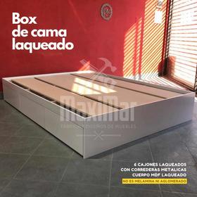 Box De Cama Laqueado 2.00x1.60 6 Cajones