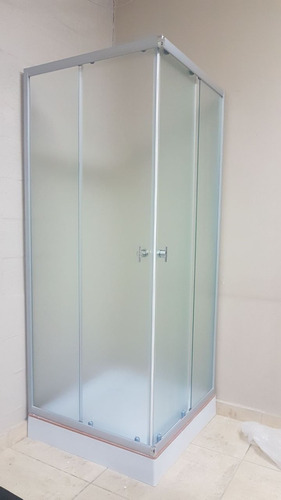 box de ducha recto mod 8127 cromo esfumado 80 cm - livin