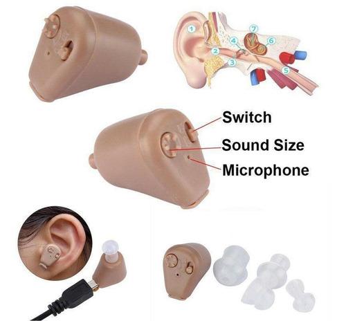 box de mini audífono digital recargable de tono ajustable