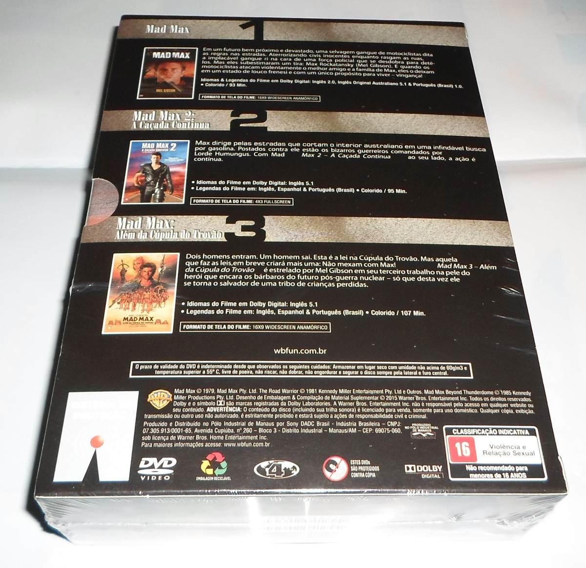Box Dvd Trilogia Mad Max Mel Gibson Original Lacrado R 6990 em