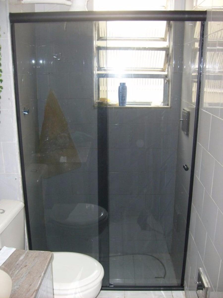Box Frontal Banheiro Vidro Fumê Instalado Frete Grátis!  R$ 88,83 em Mercad -> Armario Para Banheiro De Vidro Mercadolivre