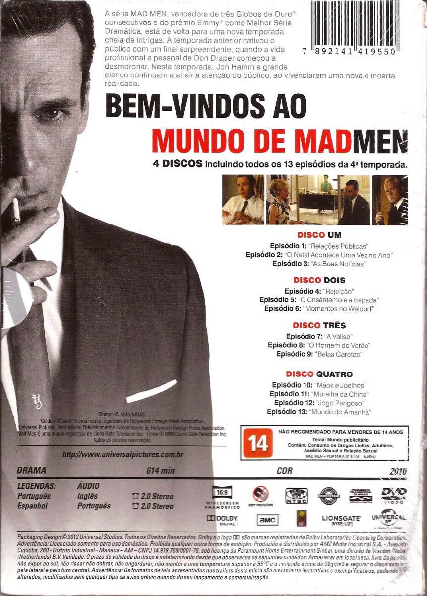 Box Mad Men 4ª Temporada - Com 4 Dvds - Jon Hamm - Dublada - R$ 28 ...