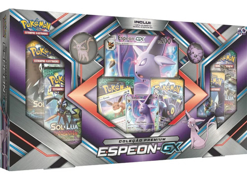 box pokemon espeon gx carta gigante moeda broche eevee cards